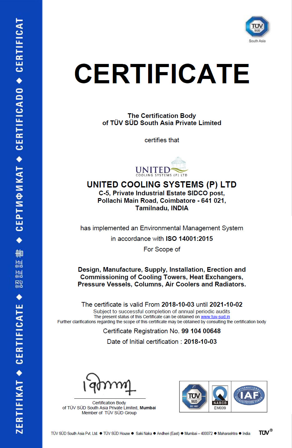 ISO CERTIFICATE 14001- 2015